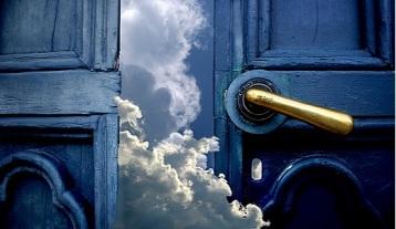 door, opening the