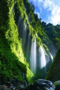 green - waterfall