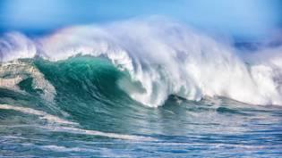 Wave in Pacific Ocean breaking in northern California